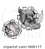 Tough Rhino Monster Mascot Holding A Baseball In One Clawed Paw And Breaking Through A Wall