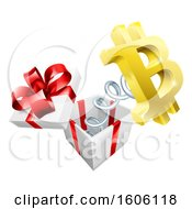 Clipart Of A 3d Gold Bitcoin Currency Symbol Popping Out Of A Gift Box Royalty Free Vector Illustration