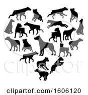 Clipart Of A Heart Made Of Black Silhouetted Dogs Royalty Free Vector Illustration