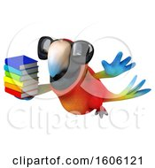 Clipart Of A 3d Scarlet Macaw Parrot Holding Books On A White Background Royalty Free Illustration