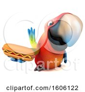 Clipart Of A 3d Scarlet Macaw Parrot Holding A Hot Dog On A White Background Royalty Free Illustration