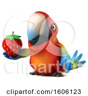 Clipart Of A 3d Scarlet Macaw Parrot Holding A Strawberry On A White Background Royalty Free Illustration