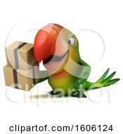 Clipart Of A 3d Green Macaw Parrot Holding Boxes On A White Background Royalty Free Illustration