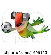Clipart Of A 3d Green Macaw Parrot Holding A Soccer Ball On A White Background Royalty Free Illustration