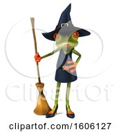 Clipart Of A 3d Green Female Springer Frog Witch Holding A Broom On A White Background Royalty Free Illustration