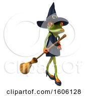 Clipart Of A 3d Green Female Springer Frog Witch Carrying A Broom On A White Background Royalty Free Illustration by Julos