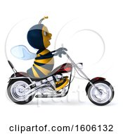 Poster, Art Print Of 3d Male Bee Biker Riding A Chopper Motorcycle On A White Background