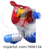 3d Chubby French Chicken Holding A Pill On A White Background