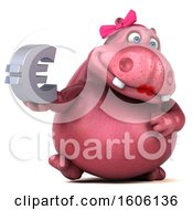 Clipart Of A 3d Pink Henrietta Hippo Holding A Euro On A White Background Royalty Free Illustration by Julos