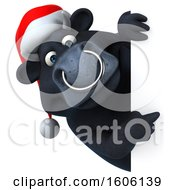 Clipart Of A 3d Christmas Black Bull Pointing Around A Sign On A White Background Royalty Free Illustration