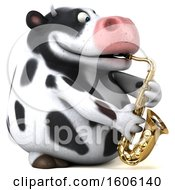 3d Holstein Cow Playing A Saxophone On A White Background