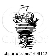 Black And White Woodcut Ship And Whirlpool Sea Monster Charybdis