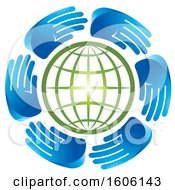 Clipart Of A Circle Of Blue Hands Around A Green Globe Royalty Free Vector Illustration