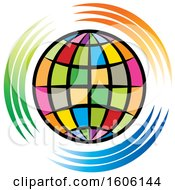 Colorful Globe With Green Orange And Blue Swooshes