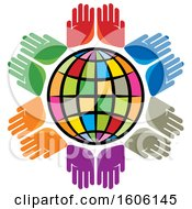 Clipart Of A Colorful Globe With Pairs Of Colorful Hands Royalty Free Vector Illustration by Lal Perera
