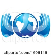 Pair Of Blue Hands Around Globe