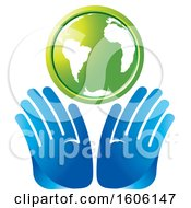 Clipart Of A Pair Of Hands Under A Green Globe Royalty Free Vector Illustration