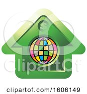 Clipart Of A Dollar Sign On A Green House With A Colorful Globe Royalty Free Vector Illustration by Lal Perera