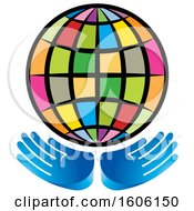 Clipart Of A Pair Of Hands Under A Colorful Globe Royalty Free Vector Illustration by Lal Perera