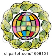 Colorful Globe Encircled With Green Leaves