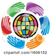 Clipart Of A Circle Of Hands Around A Colorful Globe Royalty Free Vector Illustration