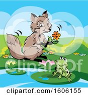 Clipart Of A Cute Fox Holding A Flower By A Frog Royalty Free Vector Illustration by Lal Perera