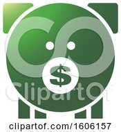 Clipart Of A Dollar Signon The Snout Of A Green Piggy Bank Royalty Free Vector Illustration