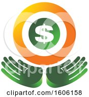 Clipart Of A Pair Of Green Hands Under A Dollar Sign Royalty Free Vector Illustration