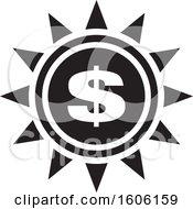Poster, Art Print Of Black And White Dollar Sign Sun Or Flower