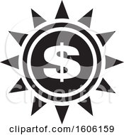 Clipart Of A Black And White Dollar Sign Sun Or Flower Royalty Free Vector Illustration by Lal Perera