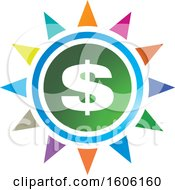 Clipart Of A Dollar Sign And Colorful Sun Or Flower Royalty Free Vector Illustration by Lal Perera