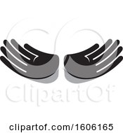 Clipart Of A Grayscale Pair Of Hands Royalty Free Vector Illustration