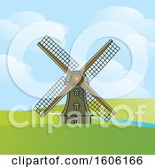 Windmill In A Hilly Landscape