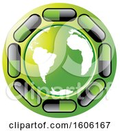 Clipart Of A Green Globe Encircled With Pills Royalty Free Vector Illustration