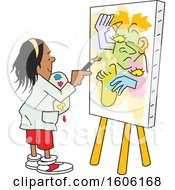 Poster, Art Print Of Cartoon Girl Painting Art On Canvas No Picasso