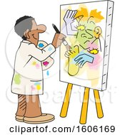 Clipart Of A Cartoon Black Male Artist Painting An Abstract On A Canvas No Picasso Royalty Free Vector Illustration