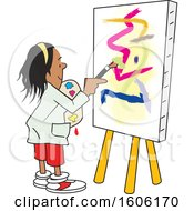 Cartoon Female Artist Painting An Abstract On A Canvas