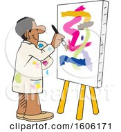 Clipart Of A Cartoon Black Male Artist Painting An Abstract On A Canvas Royalty Free Vector Illustration
