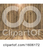 Clipart Of A 3d Wood Floor And Wall With A Light Royalty Free Illustration