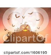 Clipart Of A Halloween Jackolantern Pumpkin On Top Of A Cemetery Hill With Bats And A Full Moon Royalty Free Vector Illustration