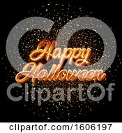 Clipart Of A Happy Halloween Greeting With Confetti On Black Royalty Free Vector Illustration