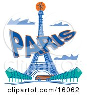 Bus Passing The Eiffel Tower In Paris France Clipart Illustration