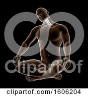 3d Man Sitting On The Floor And Stretching His Neck With Visible Bones On Black