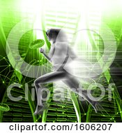 3D Woman Running Over Green DNA Strands And Virus Cells