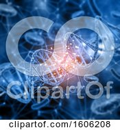 3d Cell And Dna Strand Background With Glowing Flares