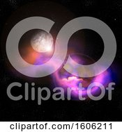 Clipart Of A 3d Fictional Moon And Nebula Royalty Free Illustration
