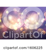 Clipart Of A Purple Background With Glitter And Bokeh Flares Royalty Free Vector Illustration