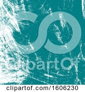 Clipart Of A White And Turquoise Brush Stroke Grunge Background Royalty Free Vector Illustration