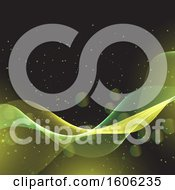 Clipart Of A Yellow And Green Wave With Flares On Black Royalty Free Vector Illustration