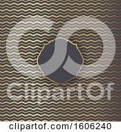 Poster, Art Print Of Blank Frame Over A Golden Zig Zag Chevron Pattern